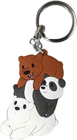 Car Tobby Cute We Bare Bears Figures Keychain Keyring Grizzly