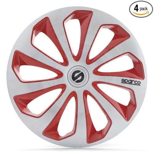 Amazon.com: Sparco SPC1673SVRD Sicilia Wheel Covers, Silver/Red, Set of 4, 16