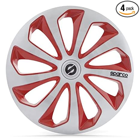 Amazon.com: Sparco SPC1673SVRD Sicilia Wheel Covers, Silver/Red, Set of 4, 16