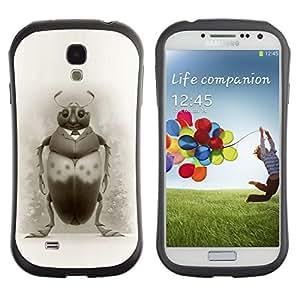 LASTONE PHONE CASE / Suave Silicona Caso Carcasa de Caucho Funda para Samsung Galaxy S4 I9500 / Bug Art Drawing Beetle Pencil Black White