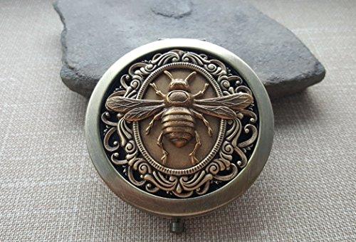 Handmade Victorian Bronze Bee Steampunk Compact Mirror