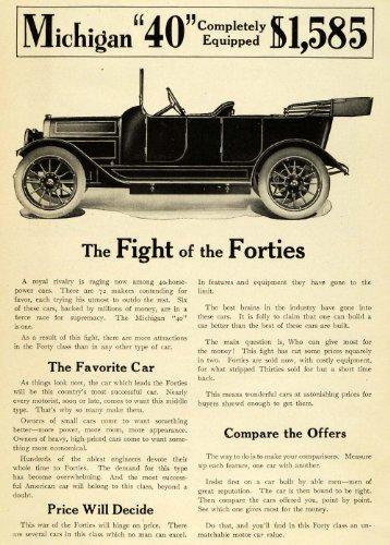 1912 Ad Michigan 40 Antique Convertible Automobile Pricing Car Enthusiasts - Original Print Ad