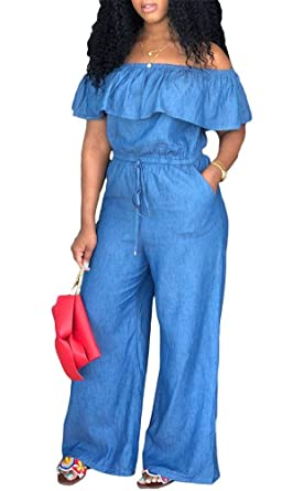 0b506bb6686 Amazon.com  LROSEY Women s Sexy Off Shoulder Denim Jumpsuits Solid Wide Leg Long  Romper Pants with Pockets Plus Size  Clothing