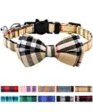 Joytale Breakaway Cat Collar with Bow Tie and Bell, Cute Plaid Patterns, 1 Pack Kitty Safety Collars,Brown
