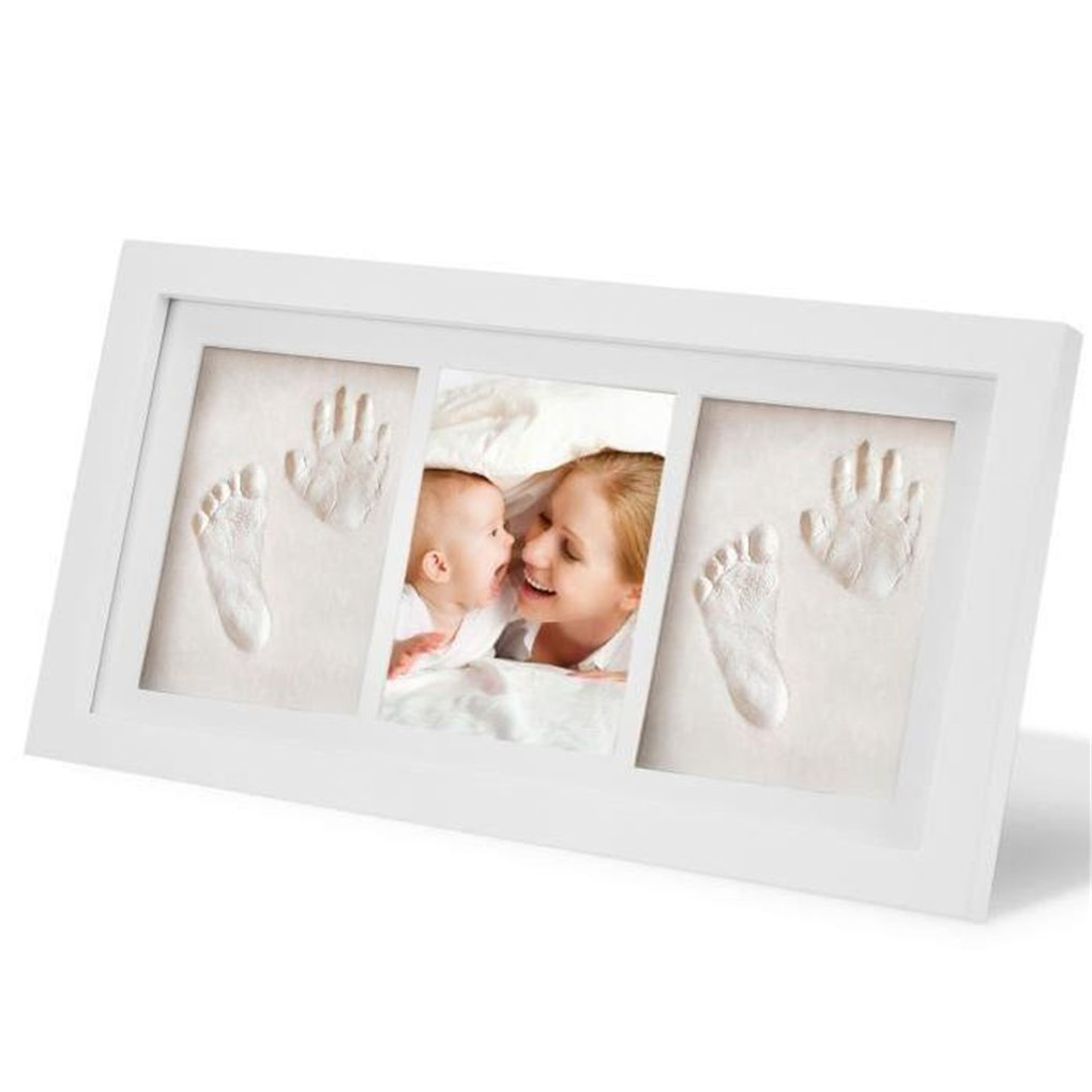 Baby Handprint Kit & Footprint Photo Frame, RoseFlower Gorgeous Keepsake Frame with Clay Imprint Kit #1 - Memorable Keepsakes Gift for New Born,Baby Shower or Christening Gift,Toddlers Birthday Presents