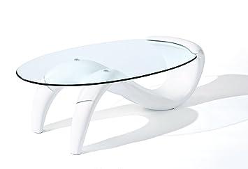 Inter Link 50100095 Couchtisch Weiss Hochglanz Glastisch