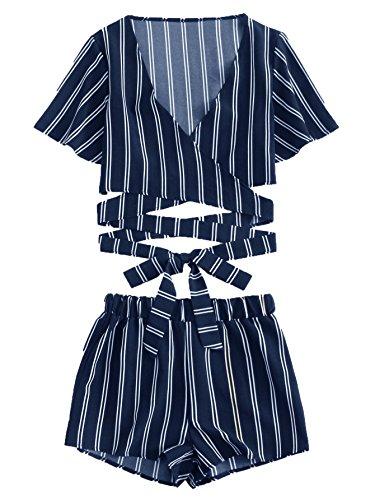 SweatyRocks Women's 2 Piece Short Sleeve Striped Wrap Crop Top and Shorts Set Navy S