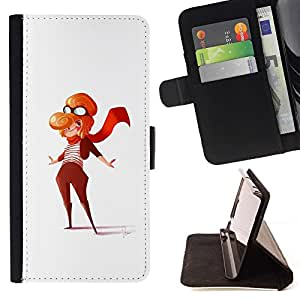 Momo Phone Case / Flip Funda de Cuero Case Cover - Piloto Chica Mujer Arte Pintura Outfit Bufanda - Samsung Galaxy Note 3 III