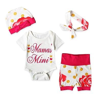 Coolbabe 0-24 Mois Bébé Fille Pyjamas à Pois et Fleur 4 Pcs Ensemble ... 725e8917c86