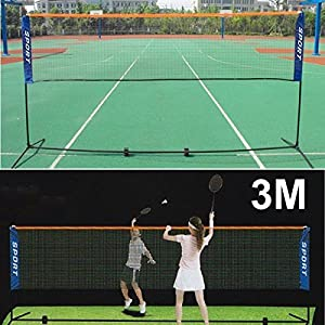 Yaheetech 10 ft Portable Badminton/Tennis/Volley Net Set Adjustable Height Poles Frame Stand Indoor/Outdoor Professional Sports Training Net, Backyard and Beach Game