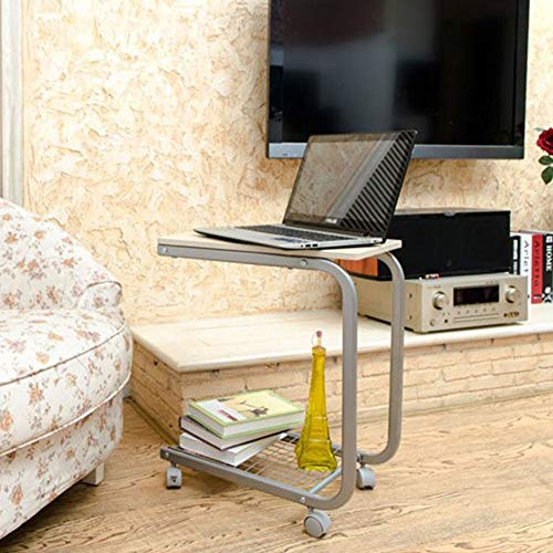 NEYIUIA Computer Desks for Small Spaces Floor-Standing Bedside Table Laptop Stand, Living Room Sofa Table Dining Table/Lazy Table/Study Desk, Movable,Maple