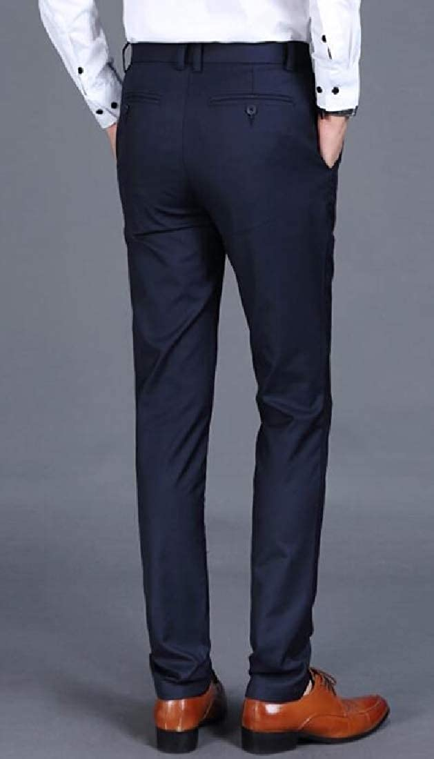 CBTLVSN Mens Business Straight Fit Solid Color Leisure Slim Fit Flat-Front Chino Pants