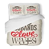 SanChic Duvet Cover Set Church Bible Lettering Husbands Love Your Wives Colossians 9 Gospel Baptism Decorative Bedding Set with 2 Pillow Shams Full/Queen Size