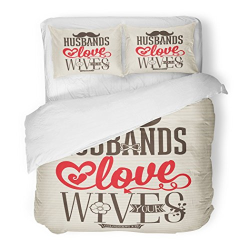 SanChic Duvet Cover Set Church Bible Lettering Husbands Love Your Wives Colossians 9 Gospel Baptism Decorative Bedding Set with 2 Pillow Shams Full/Queen Size by SanChic