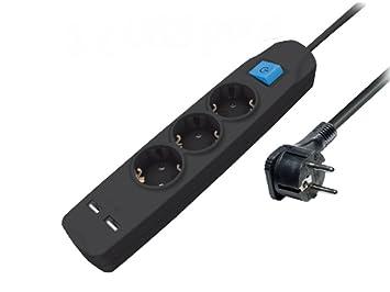 Steckdosenleiste mit USB schwarz