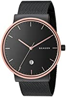 Skagen Men's Ancher Quartz Stainless Steel Mesh Casual Watch, Color: Black (Model: SKW6296)