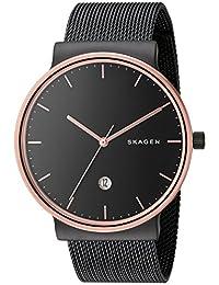Skagen Men's 'Ancher' Quartz Stainless Steel Automatic Watch, Color:Black (Model: SKW6296)