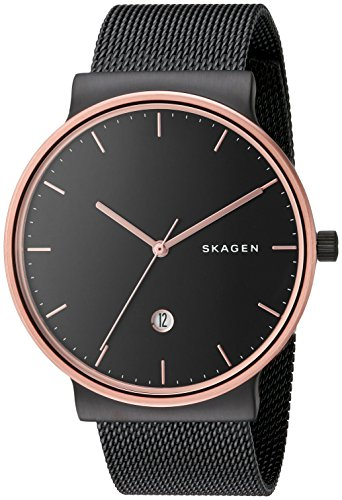 - Skagen Men's Ancher Stainless Steel Analog-Quartz Watch with Mesh Strap, Black (Model: SKW6296))