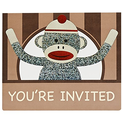 Sock Monkey Invitations (Birthday Express Sock Monkey Party Supplies - Invitations)