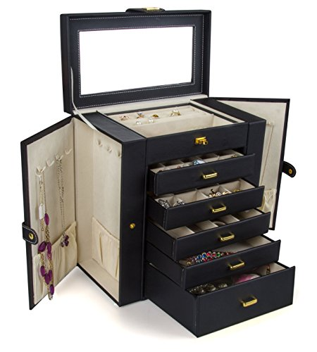 Kendal Huge Leather Jewelry Box/Case / Storage LJC-SHD5BK (Black) ()
