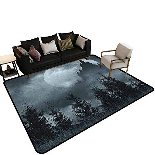 Outdoor Carpet Halloween,Magic Castle Silhouette Over Full Moon Night Fantasy Landscape Scary Forest, Grey Pale Grey ()