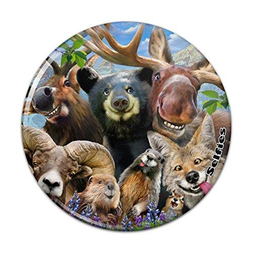 Rocky Mountain Animals Selfie Bear Moose Elk Ram Beaver Fox Compact Pocket -