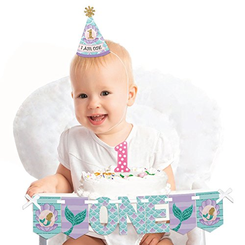 Big Dot of Happiness Lets Be Mermaids - 1st Birthday Girl Smash Cake Decorating Kit - High Chair Decorations