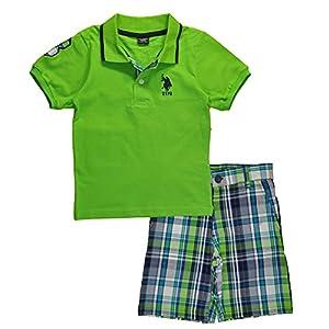 U.S. Polo Assn. Boys' 2 Piece Big Pony Solid Pique Polo Shirt and Plaid Short