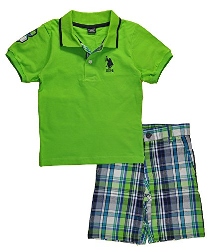 Short Slim Fashion Solid (U.S. Polo Assn. Little Boys 2 Piece Big Pony Solid Pique Polo Shirt and Plaid Short, Lime, 7)