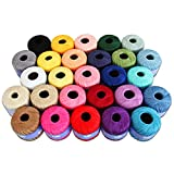 Crochet Thread Set - Size 10 - 27 Colors - 50g Balls - 175 yds/ball - 100% Mercerized Cotton - Threadart