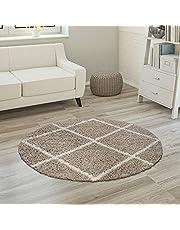 Hoogpolig tapijt, zachte shaggy voor de woonkamer in Scandinavische stijl met ruitmotief