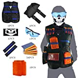 Tactical Vest Kit for Nerf Guns N-Strike Elite Series with Vest,Waist Pack, Mask, Glass,Hand Wrist Band, Clips, Darts