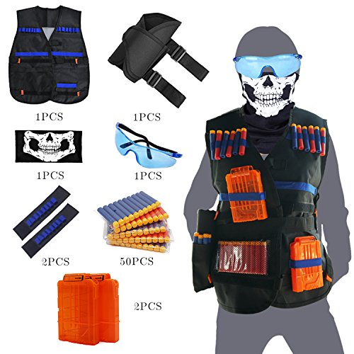 Tactical Vest Kit for Nerf Guns N-Strike Elite Series with Vest,Waist Pack, Mask, Glass,Hand Wrist Band, Clips, Darts by Parkside wind