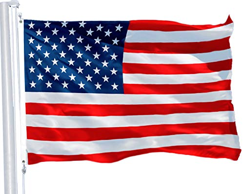 G128 – American Flag | 3×5 feet | Printed 150D – Indoor/Outdoor, Vibrant Colors, Brass Grommets, Quality Polyester, US USA Flag, Much Thicker More Durable Than 100D 75D Polyester