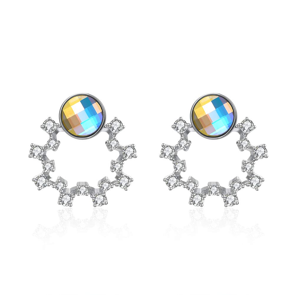 V-Moni crystal Elements S925 silver cute garland pop earrings