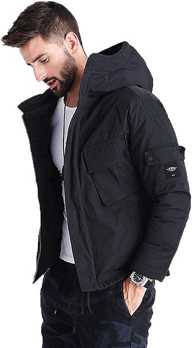 Qifengshop Abrigo corto de algodón para hombre abrigo fino de invierno chaqueta gruesa de algodón abrigo corto de algodón cálido ropa de moda para hombre abrigo con capucha, versión de cardigan guapo: