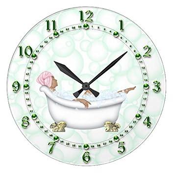 Divertido reloj de pared decorativo para salón verde baño números brillantes burbujas guardería redondo de madera reloj para cocina decoración 12 pulgadas: ...