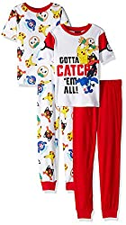 Pokemon Big Boys' Catch 'Em All 4-piece Cotton Pajama Set, Catch 'Em All White, 8
