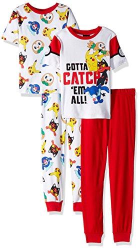 Pokemon Boys Catch em All 4-Piece Cotton Pajama Set