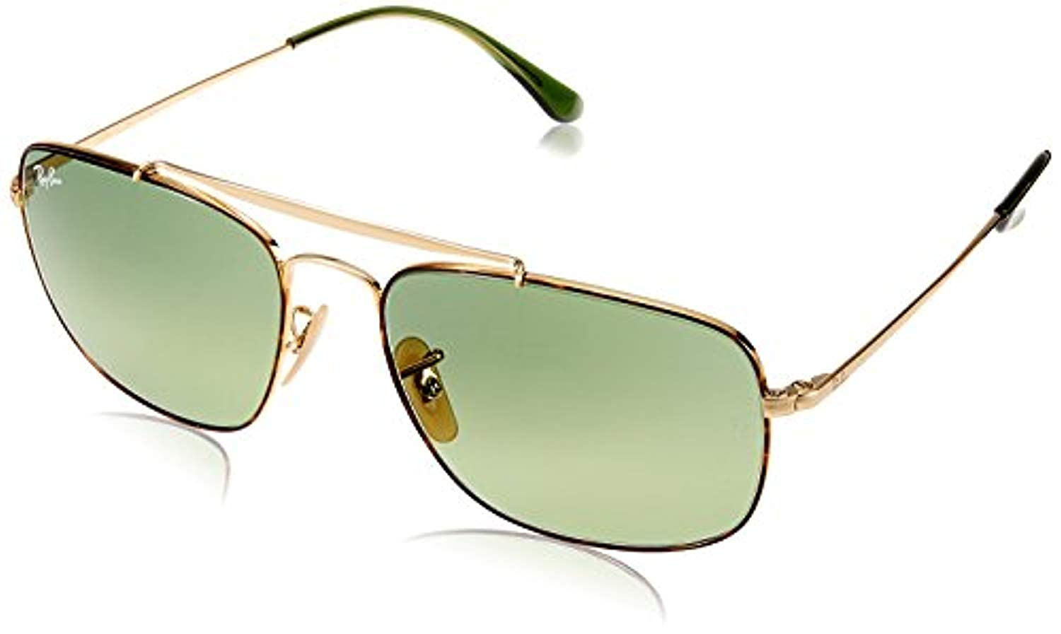 82ceafbe89 Amazon.com  Bundle  Ray-Ban RB3560 The Colonel Havana Green Gradient Green  58mm   Carekit  Clothing