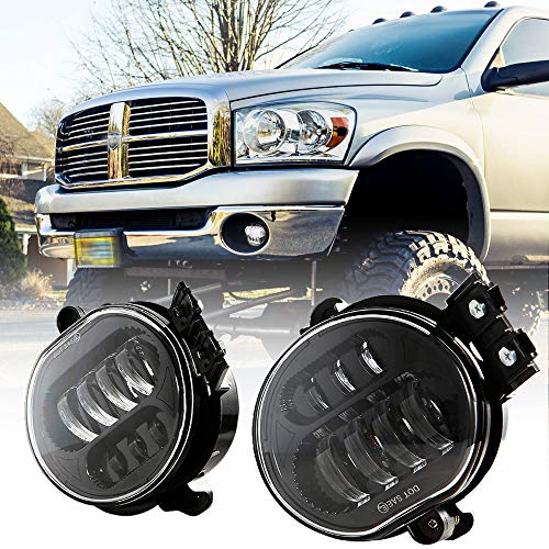 BICYACO New Version LED Fog Light for Dodge Ram 1500 2002-2008 Dodge Ram 2500/3500 Pickup Truck 2003 2004 2005 2006 2007 2008 2009-1 Pair Black ()