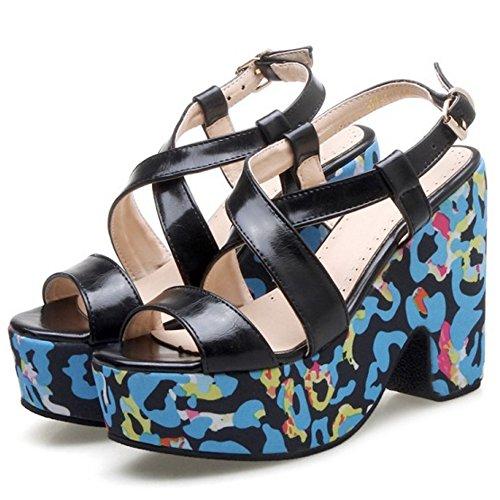 COOLCEPT Mujer Moda Punta Abierta Sandalias Tacon Ancho Slingback Zapatos Negro