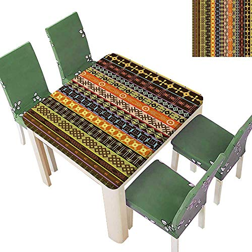 Primitive Cloth Doll Patterns - Polyester Tablecloths Tribal Primitive Pattern Effects Geometric Folk Culture Brown Green for Indoor and Outdoor Use 50 x 50 Inch (Elastic Edge)
