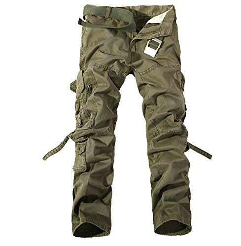 Catwomanfun New Army Military Camouflage Overalls Bags Pants Overalls Big Yards Men Camo Combat Work Trousers Overalls Soil Army Green 29 by Catwomanfun workout-and-training-pants