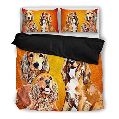 English Cocker Spaniel Bedding Set Custom Cover Print Pillow Cases & Duvet Blanket Cover - Pet Gift Ideas