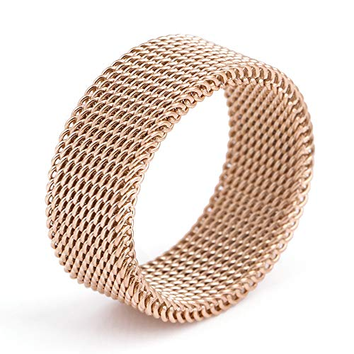 (DiSha 8mm Flexible Stainless Steel Screen Mens Womens Woven Mesh Band Ring)