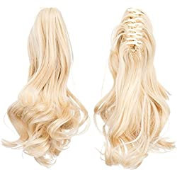 SWACC Short Cute Curly Claw Clip Ponytail Extension Synthetic Clip in Ponytail Hairpiece Jaw Clip Hair Extension (Bleach Blonde-613#)