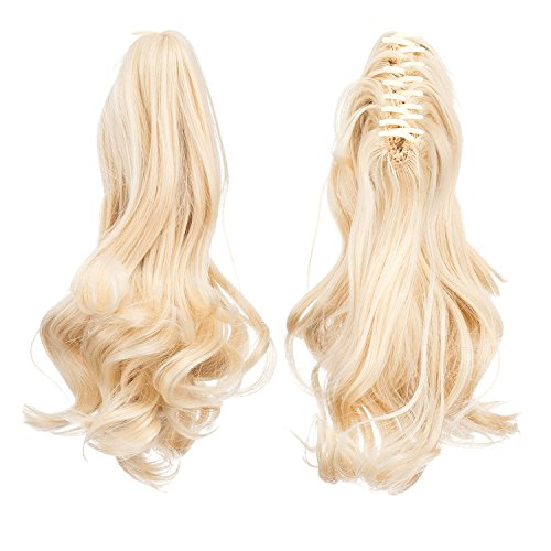 SWACC Short Cute Curly Claw Clip Ponytail Extension Synthetic Clip in Ponytail Hairpiece Jaw Clip Hair Extension (Bleach - Pony Braids Yaki