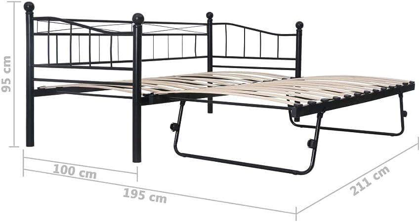 Festnight Metallbett Bettgestell Schwarz Stahl 120x200 cm Bettrahmen G/ästebett Bett Schlafzimmerm/öbel