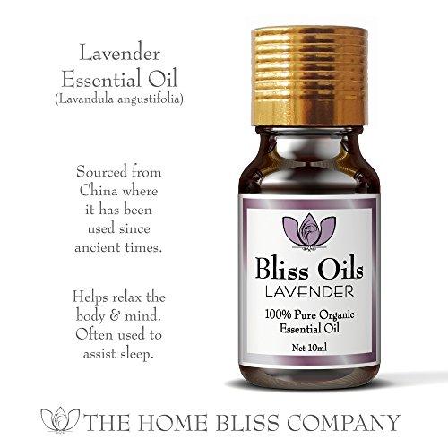 Bliss Oils Top 4 Organic Essential Oils 100% Pure & Natural Gift Set includes Organic Eucalyptus, Lavender, Sweet Orange & Lemongrass Oil in 4 x 10ml bottles.
